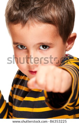 Closeup portrait of little bully boy with black eye attack isolated on white