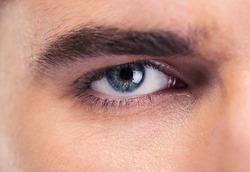 Closeup portrait of male eyes