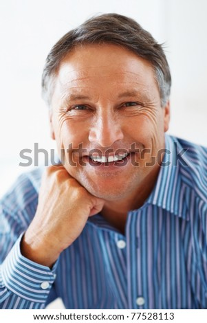 stock photo : Closeup portrait of mature business man giving you an ...