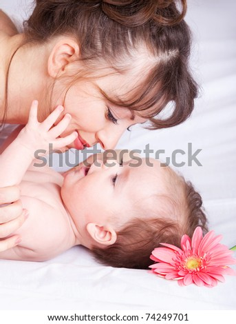 Closeup portrait of mother and baby enjoying time with each other