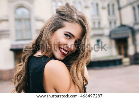 closeup portrait of pretty girl ...