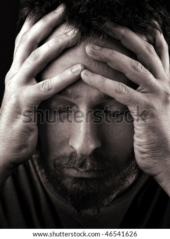 Closeup portrait of sad depressed and lonely man