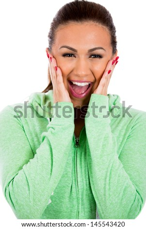 Closeup portrait of scared, surprised adorable girl with green sweater, isolated on white background