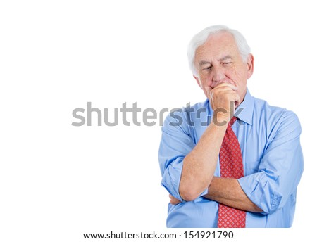 Closeup portrait of senior elderly mature man trying to remember something in deep thought and worried, isolated on white background with copy space