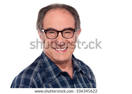 Closeup portrait of senior old man smiling in front of camera