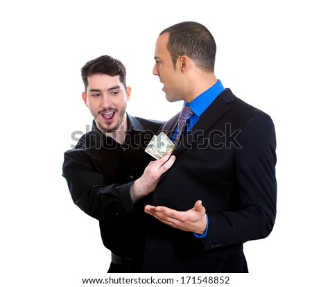 Closeup portrait of sly agent happily stealing money from shocked, surprised business man, worker, isolated on white background. Financial greed concept. Is your broker taking too much money?