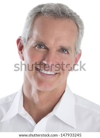 Closeup portrait of smart businessman isolated over white background #147933245