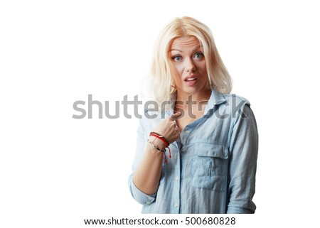 Closeup portrait of surprised, flirting young business woman student getting unexpected attention from man she likes asking you talking to, you mean me? Isolated on white background. Facial expression Сток-фото ©