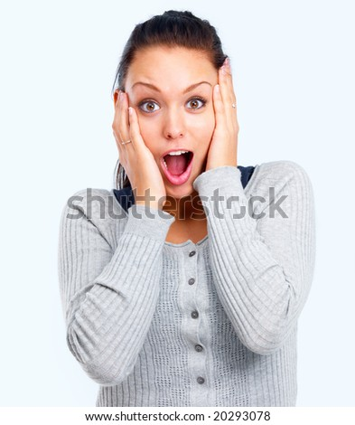 stock photo : Closeup portrait of surprised young lady looking up isolated white background