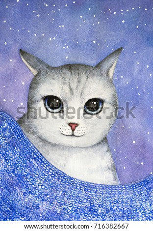 Stock Photo Closeup portrait of the gray striped cat looking at camera with big blue eyes and blue violet canvas. Hand painted watercolor illustration.