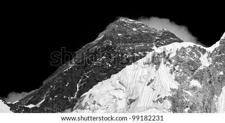Closeup portrait of the Mt. Everest (black and white) - Nepal, Himalayas