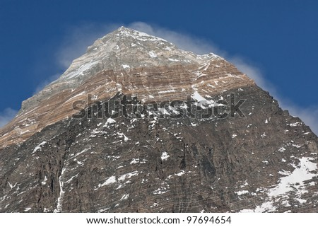 Closeup portrait of the Mt. Everest - Nepal