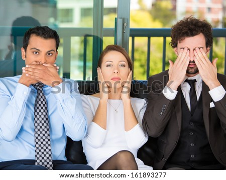 Closeup portrait of three business people on black couch imitating see no evil, hear no evil, speak no evil concept, isolated on city urban background. Human emotions, expressions and communication