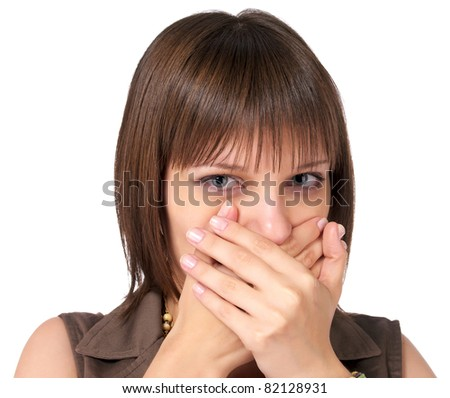 Closeup portrait of woman shutting her mouth over white background