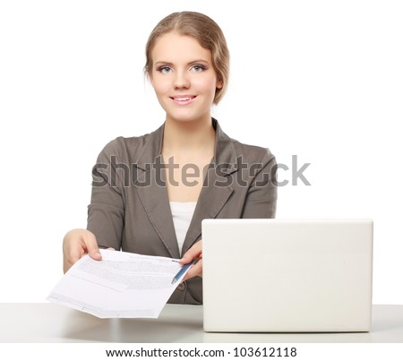 Closeup portrait of woman sitting at the desk isolated on white background