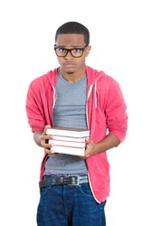 Closeup portrait of worried and stressed student in pink hoodie wearing big black glasses and holding books, isolated on white background