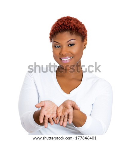 Closeup portrait of young beautiful smiling, happy excited woman with raised up palms, arms at you offering something, isolated on white background. Positive emotions, facial expressions signs symbols