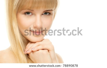 Closeup portrait of young beautiful woman after bath, isolated on wite background