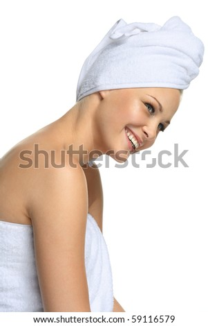 Closeup portrait of young beautiful woman after bath - smile
