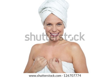 Closeup portrait of young beautiful woman after bath - spa concept.