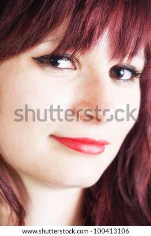 Closeup Portrait of young beautiful woman with red lips - isolated on withe background
