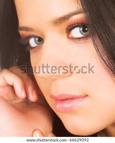 closeup portrait of young brunette