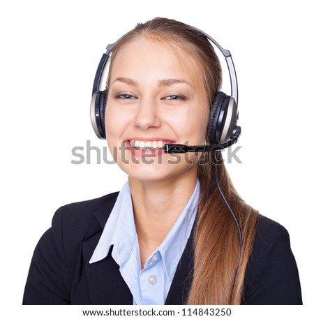 Closeup portrait of young female call centre employee with a headset on white background
