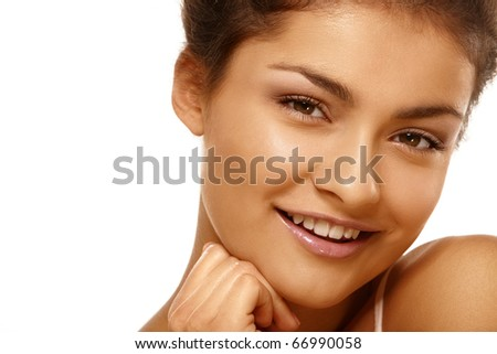 Closeup portrait of young girl over isolated white background