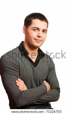 Closeup portrait of young man isolated on white