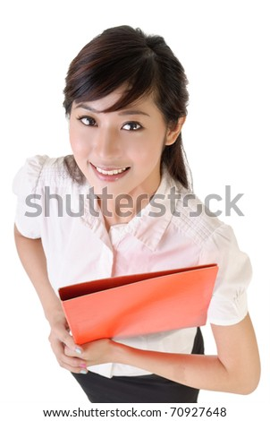 Closeup portrait of young secretary with smiling face holding file document. - stock photo