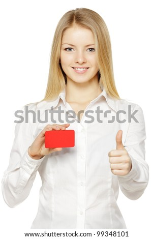 Closeup portrait of young smiling business woman holding credit card and showing thumb up sign, isolated on white background