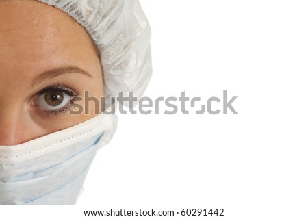 Closeup portrait of young woman nurse mask and cap