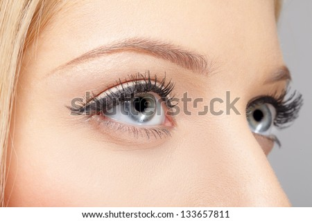 closeup portrait of young woman's eye zone make up