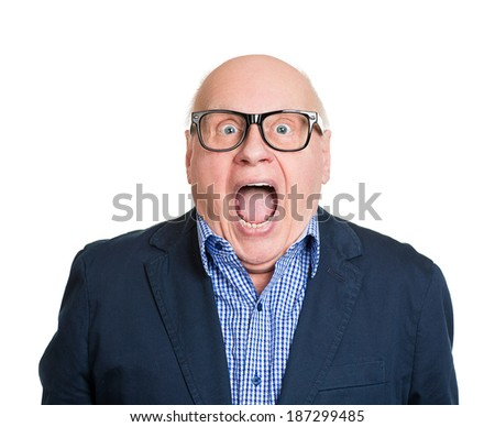 Closeup portrait senior, elderly man in glasses, looking shocked, surprised in full disbelief, wide open mouth, eyes, isolated white background. Human emotions, facial expressions, feelings, reaction