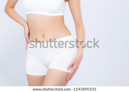 Closeup portrait young asian woman beautiful body diet with fit isolated on white background, model girl weight slim with health and wellness, weightloss concept.