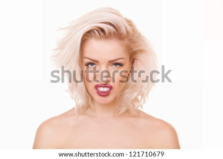 closeup portrait young woman growls with her mouth open