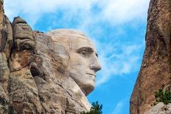 Closeup profile of George Washington at Mount Rushmore National Monument in South Dakota