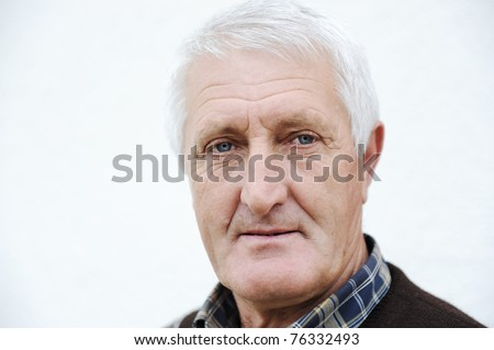Closeup Profile on a good looking  Old Man - stock photo
