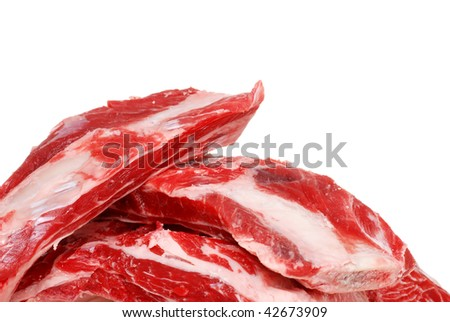 Closeup Raw Beef Spare Ribs
