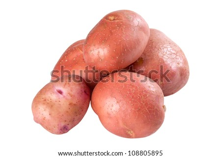 Closeup raw red potatoes isolated on white background