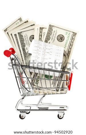 Closeup Receipt and cash in shopping cart