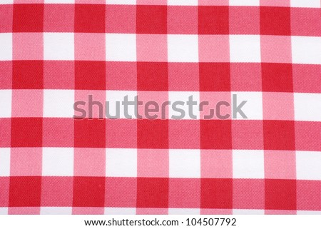 Closeup Red and white tablecloth making a background