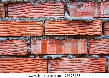 Closeup red brick wall background