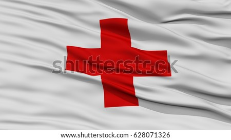 Closeup Red Cross Flag, Waving in the Wind, High Resolution