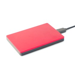 Closeup Red External hard disk drive of computer for storage document and data isolated on white background,