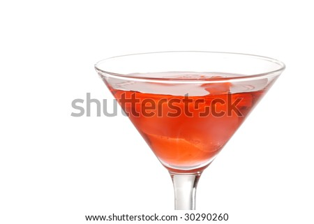 Closeup red martini with ice