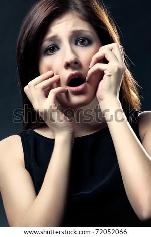 face portrait woman. scared woman face portrait