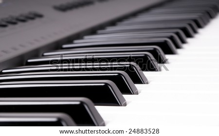 closeup shoot electronic organ keyboard perspective