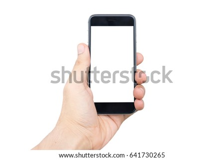 Closeup shot of a Man hand holding the black smart phone with white screen. hand typing on mobile phone isolated on white background.  holding mobile phone white screen.  #641730265