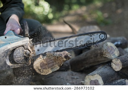 Closeup shot of a working chainsaw cutting into log. Shallow focus, sawdust flying around work area. Male hands operating the chainsaw and some cut up logs can be seen near work area.